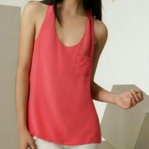 Alexander Wang 100% Silk Pocket Tank Coral Pink
